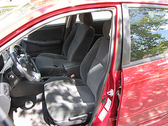 Interior of a red car
