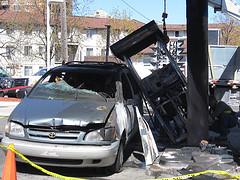 Car slammed into a telephone booth