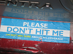 Don't hit me tag on car's bumper