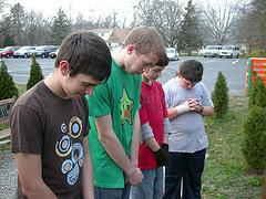 Four teenage boys