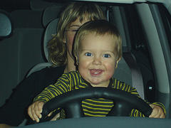 Mom and baby on the driver's seat
