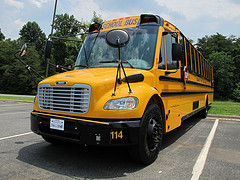 A yellow school bus