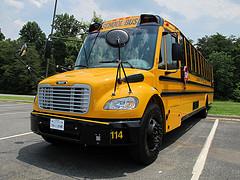 A yellow school bus