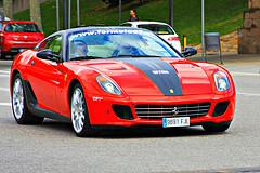 Red  Ferrari on the road