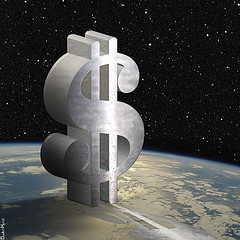 Dollar sign over the earth