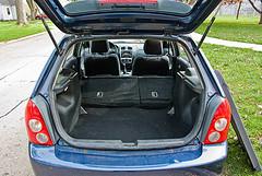 A blue Mazda