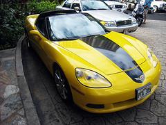 Corvette - yellow body, black top